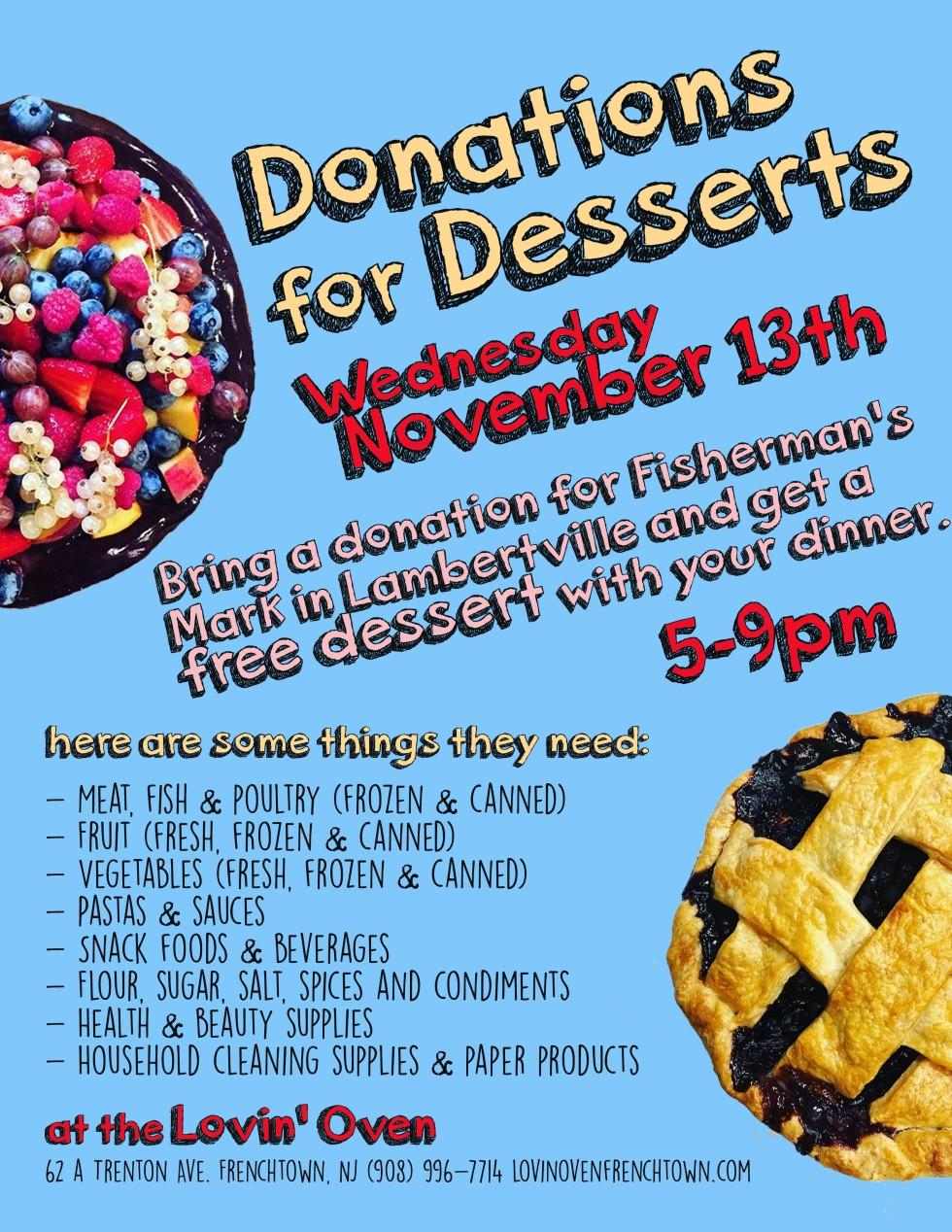 Donations For Dessert